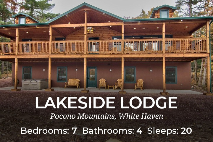 pa the rental woods lake rentals cabins towamensing vacation rustic ariel poconos chalet photo trails lakefront of in cabin cottages